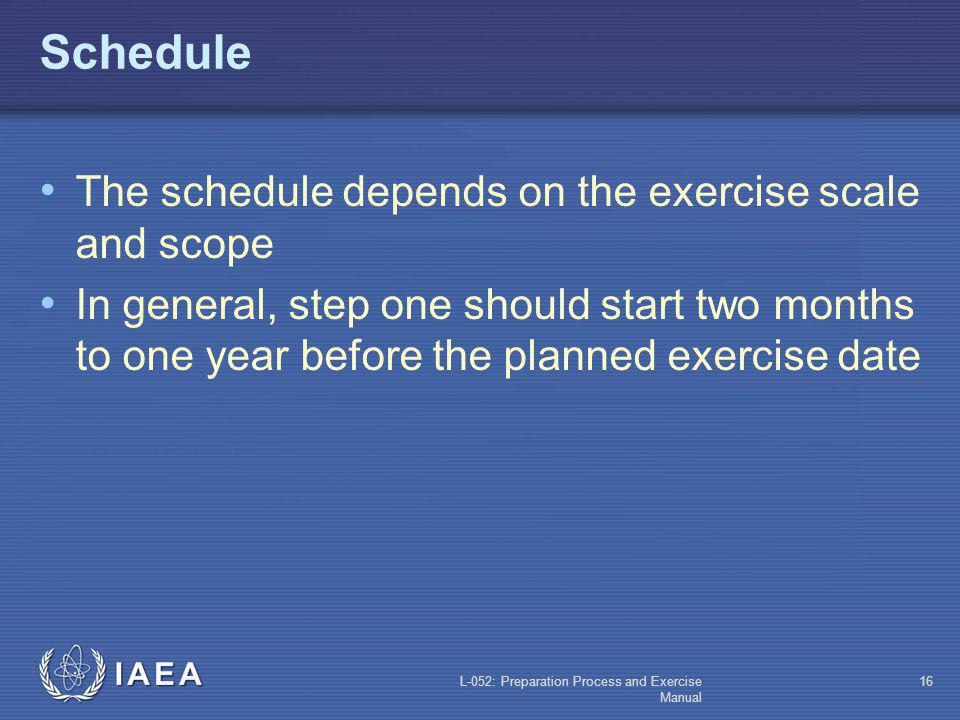 Schedule The schedule depends on the exercise scale and scope