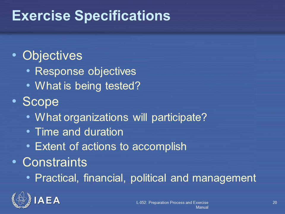 Exercise Specifications