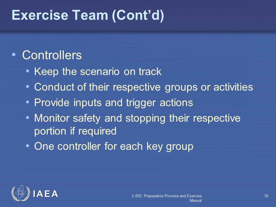 Exercise Team (Cont'd)