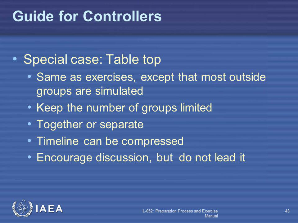 Guide for Controllers Special case: Table top