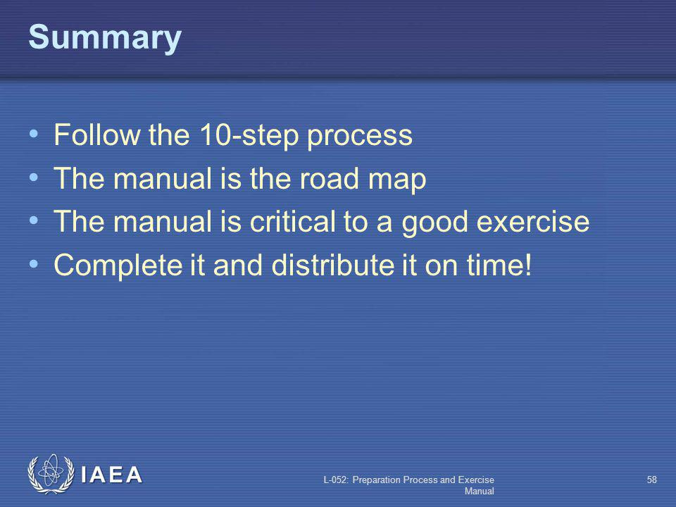 Summary Follow the 10-step process The manual is the road map