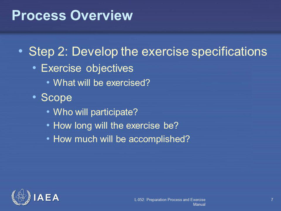Process Overview Step 2: Develop the exercise specifications