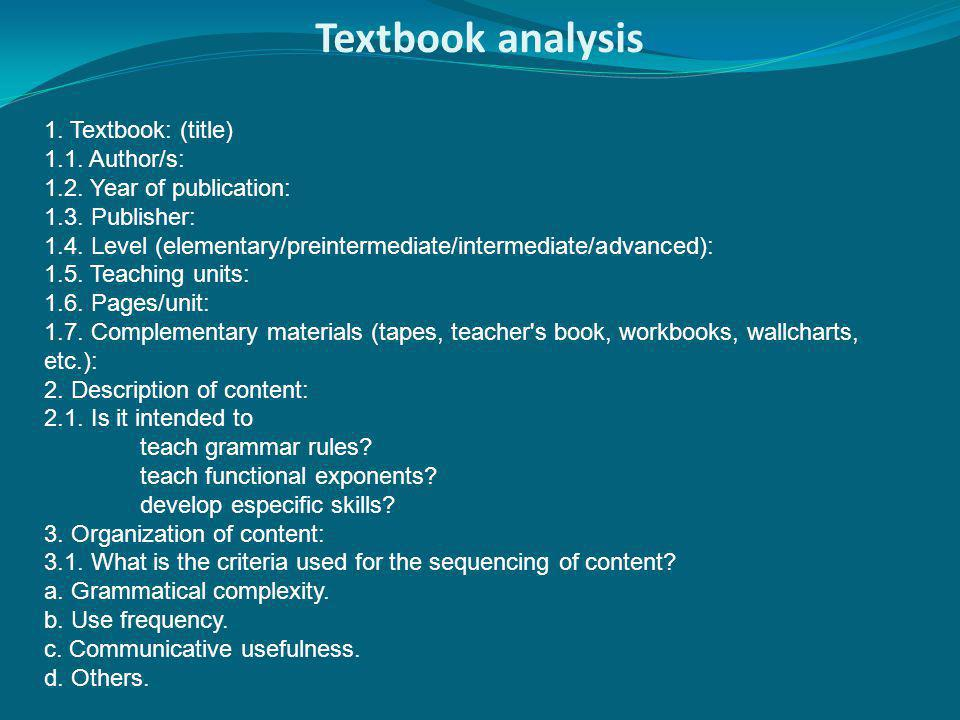 Textbook analysis 1. Textbook: (title) 1.1. Author/s: