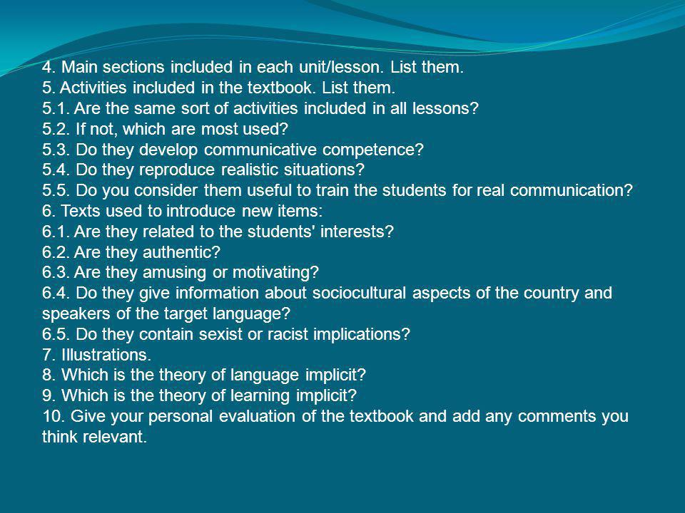 4. Main sections included in each unit/lesson. List them.