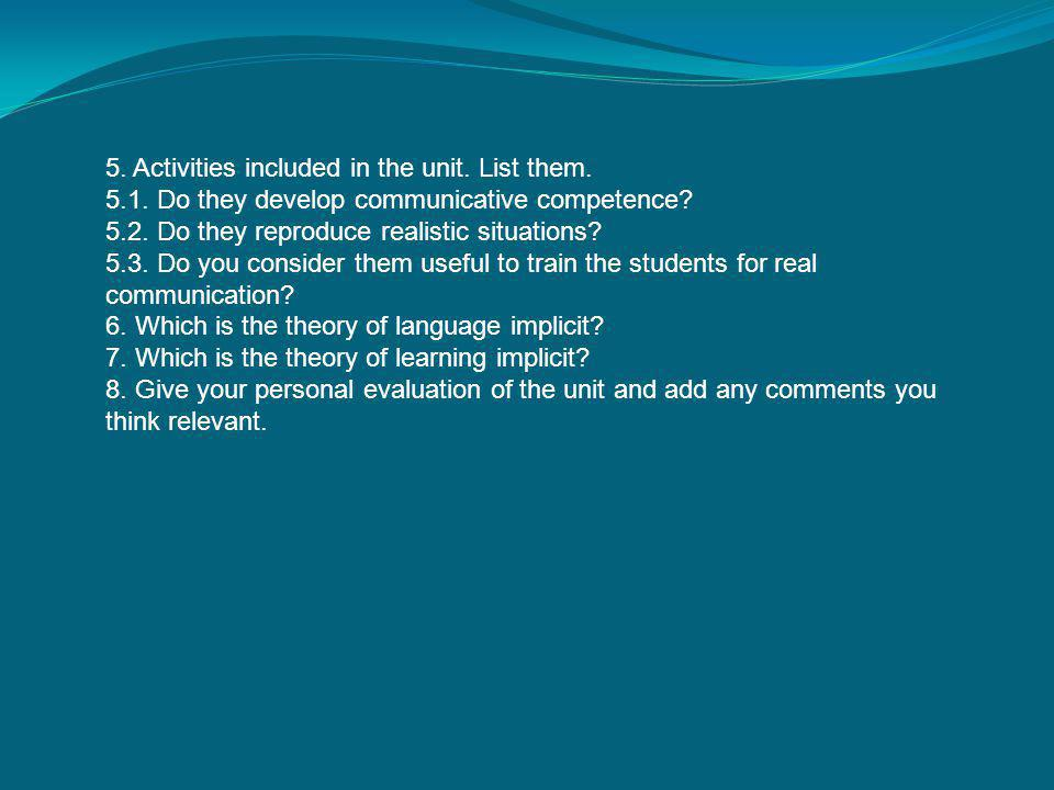 5. Activities included in the unit. List them.