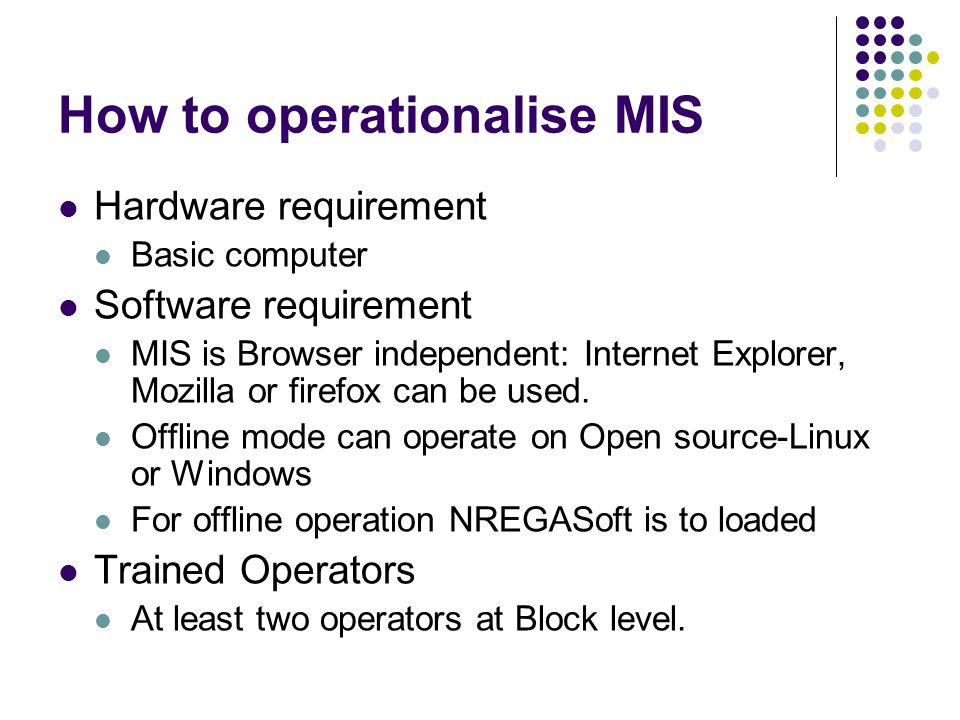 How to operationalise MIS