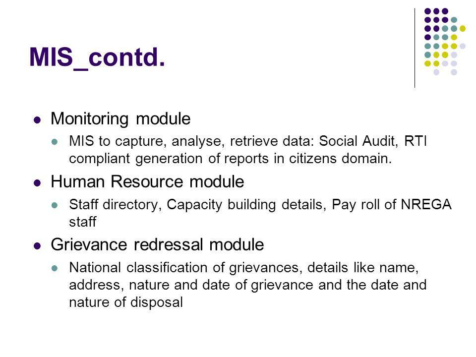 MIS_contd. Monitoring module Human Resource module