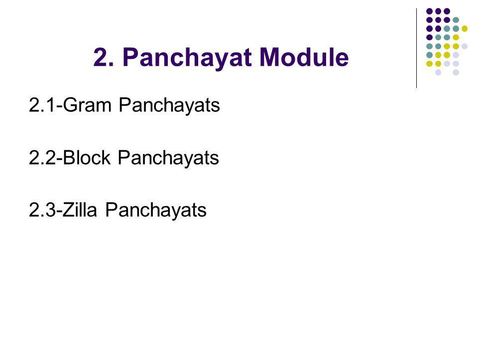 2. Panchayat Module 2.1-Gram Panchayats 2.2-Block Panchayats