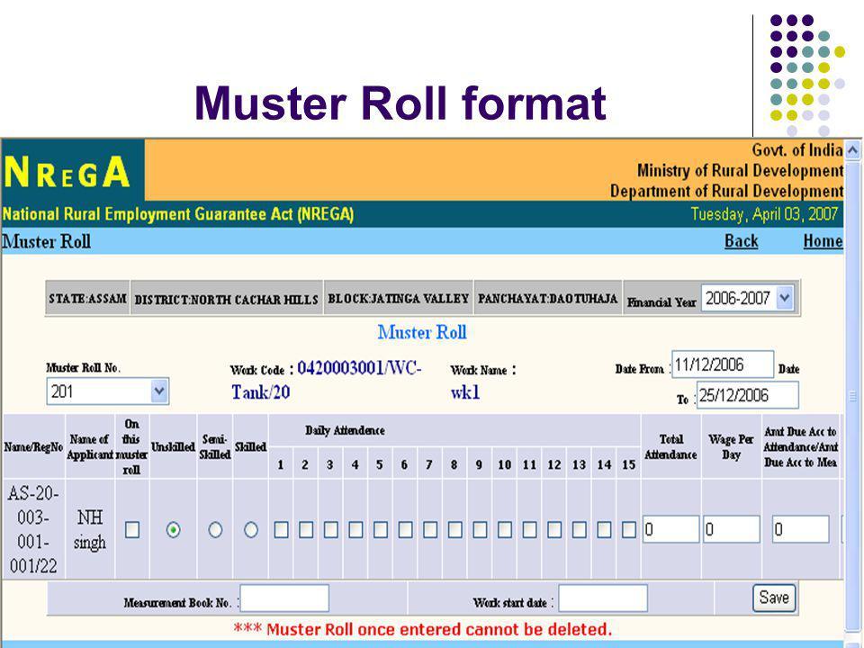Muster Roll format