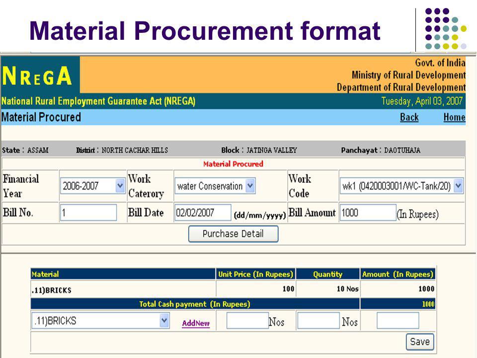 Material Procurement format