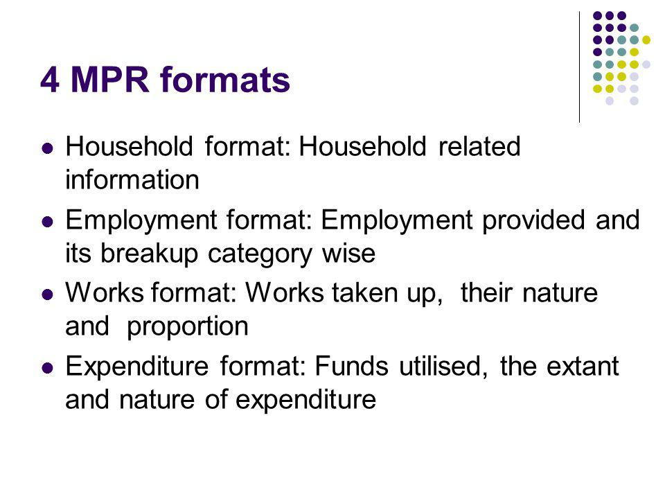 4 MPR formats Household format: Household related information