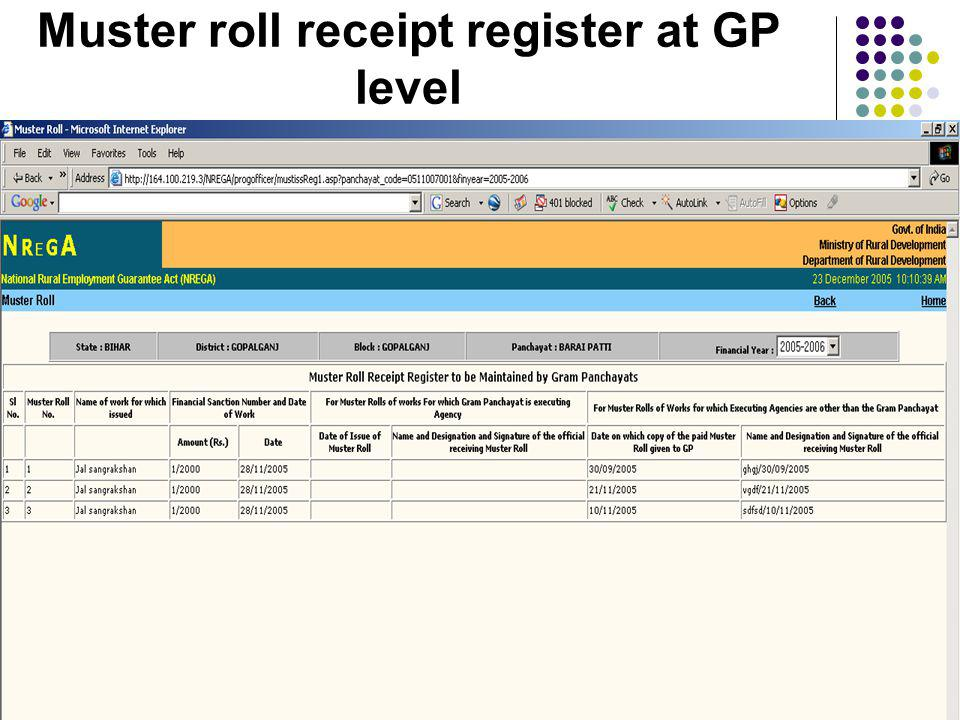 Muster roll receipt register at GP level