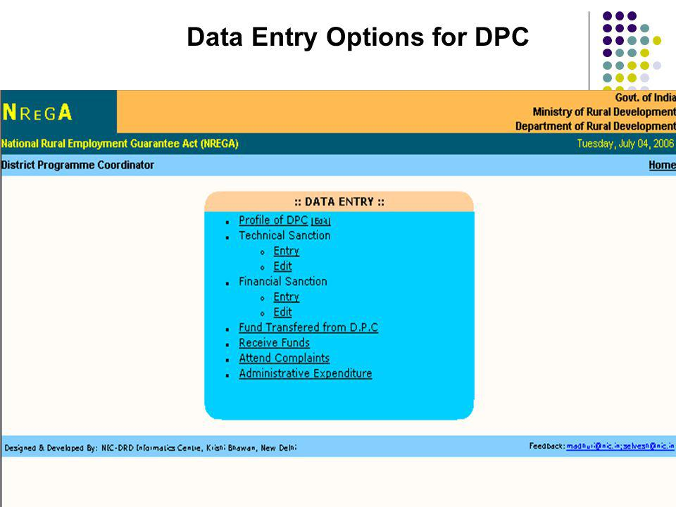 Data Entry Options for DPC
