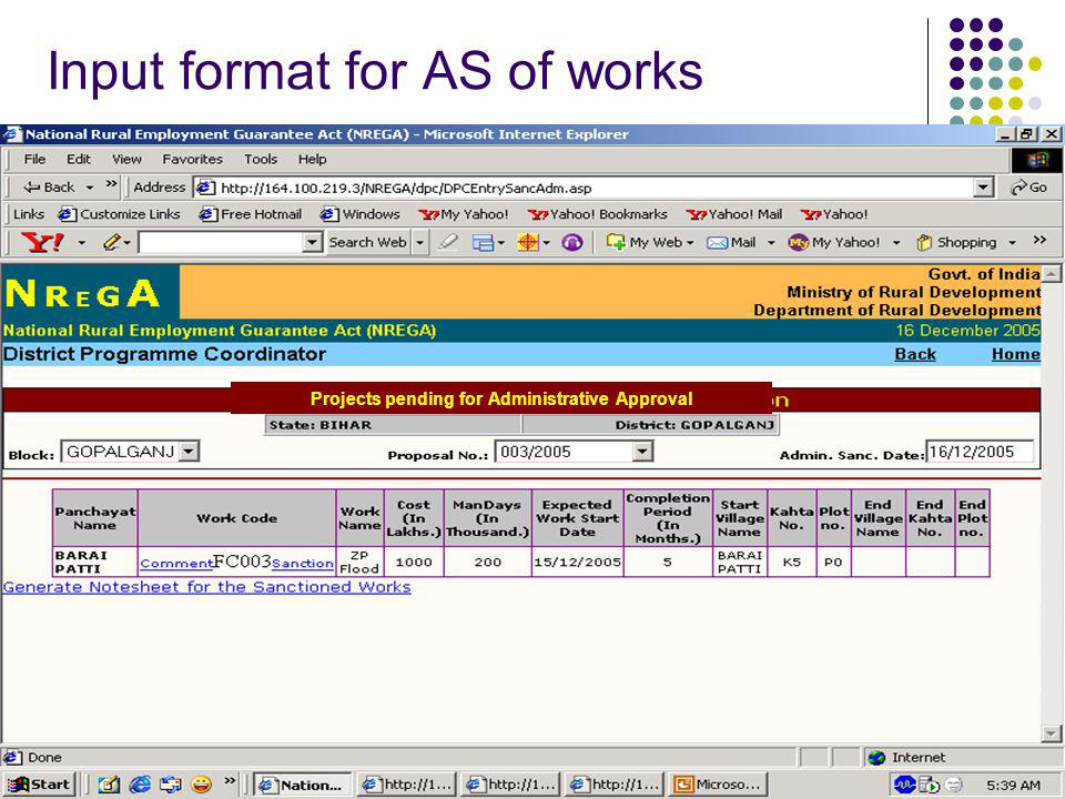 Input format for AS of works