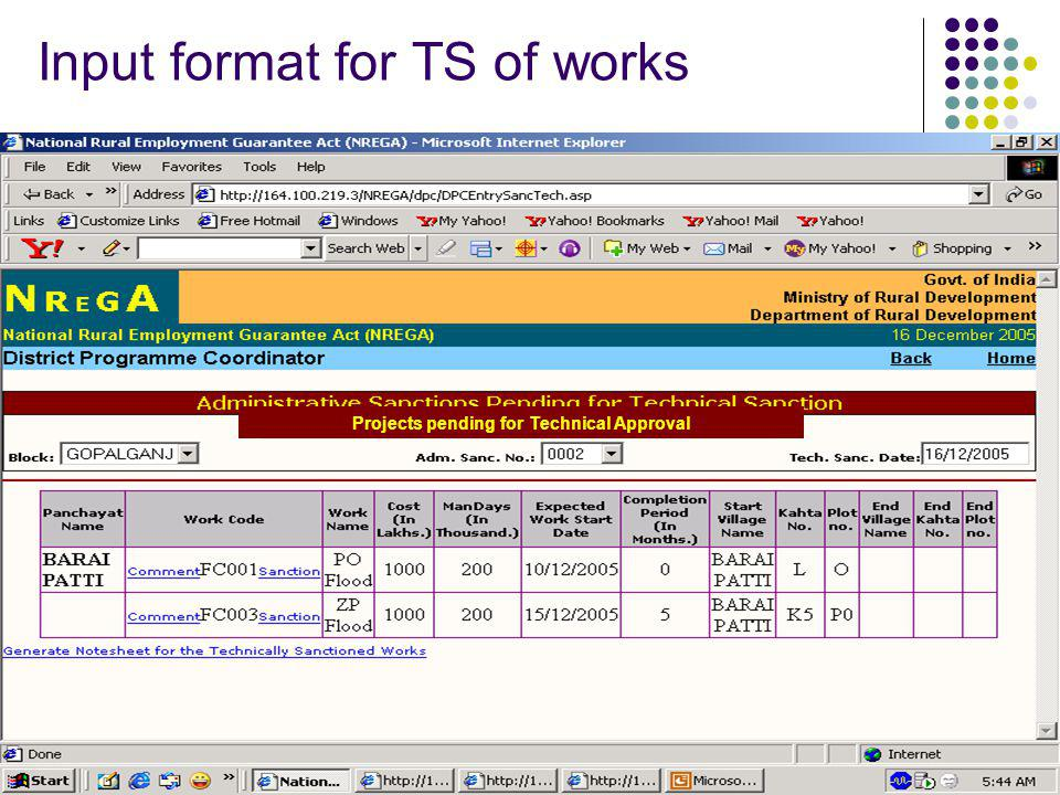 Input format for TS of works