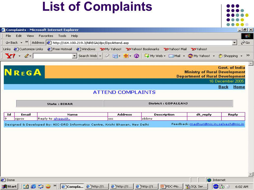 List of Complaints