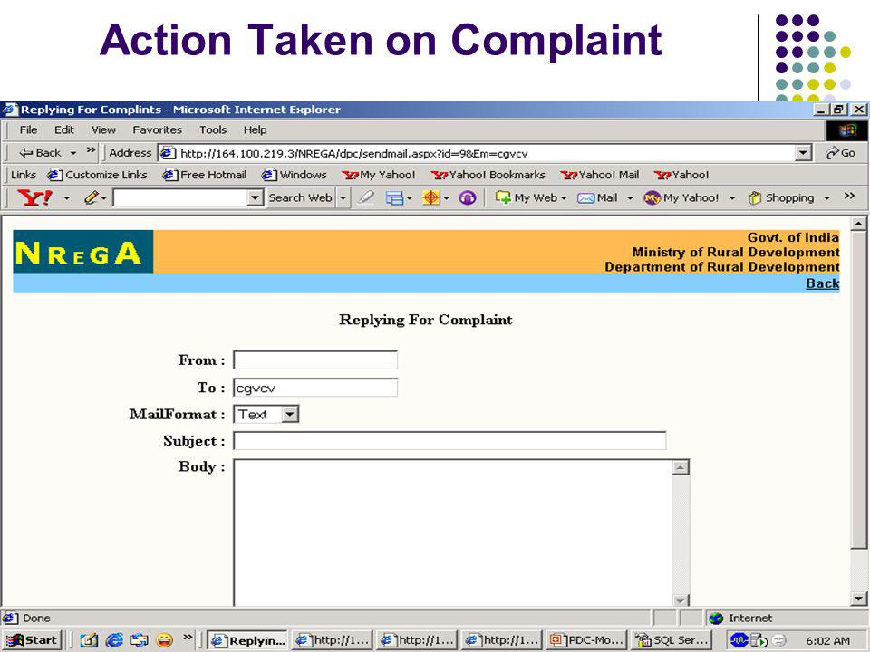 Action Taken on Complaint