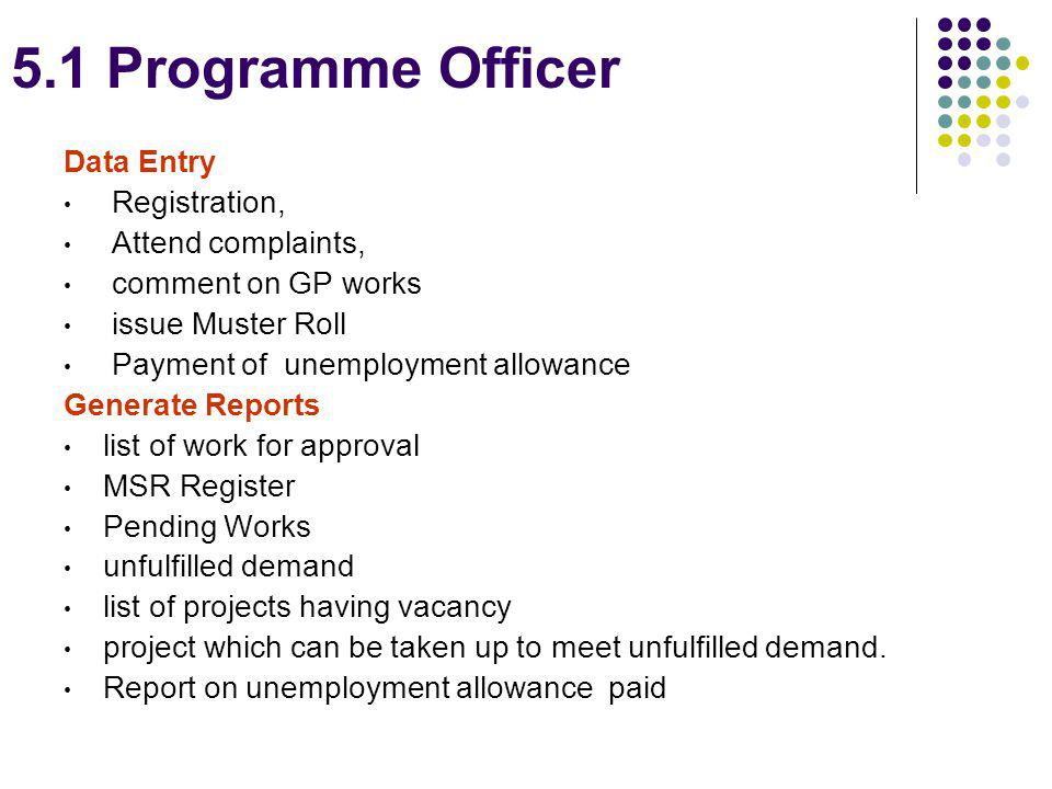 5.1 Programme Officer Data Entry Registration, Attend complaints,