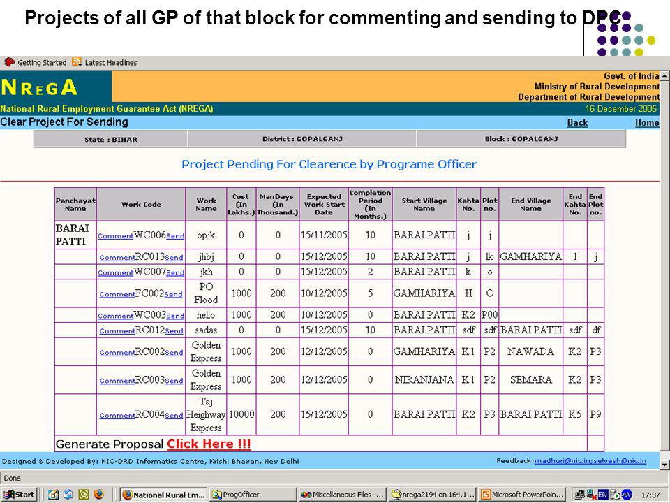 Projects of all GP of that block for commenting and sending to DPC