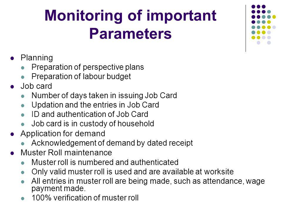 Monitoring of important Parameters