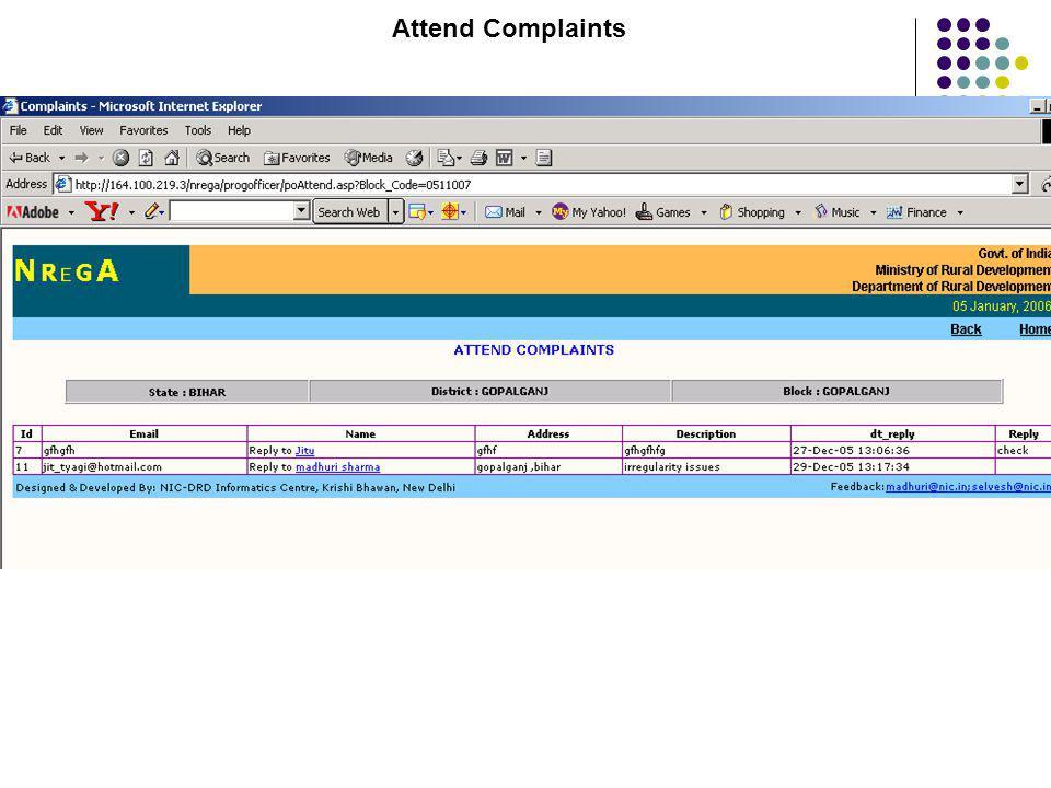Attend Complaints