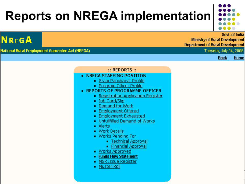 Reports on NREGA implementation