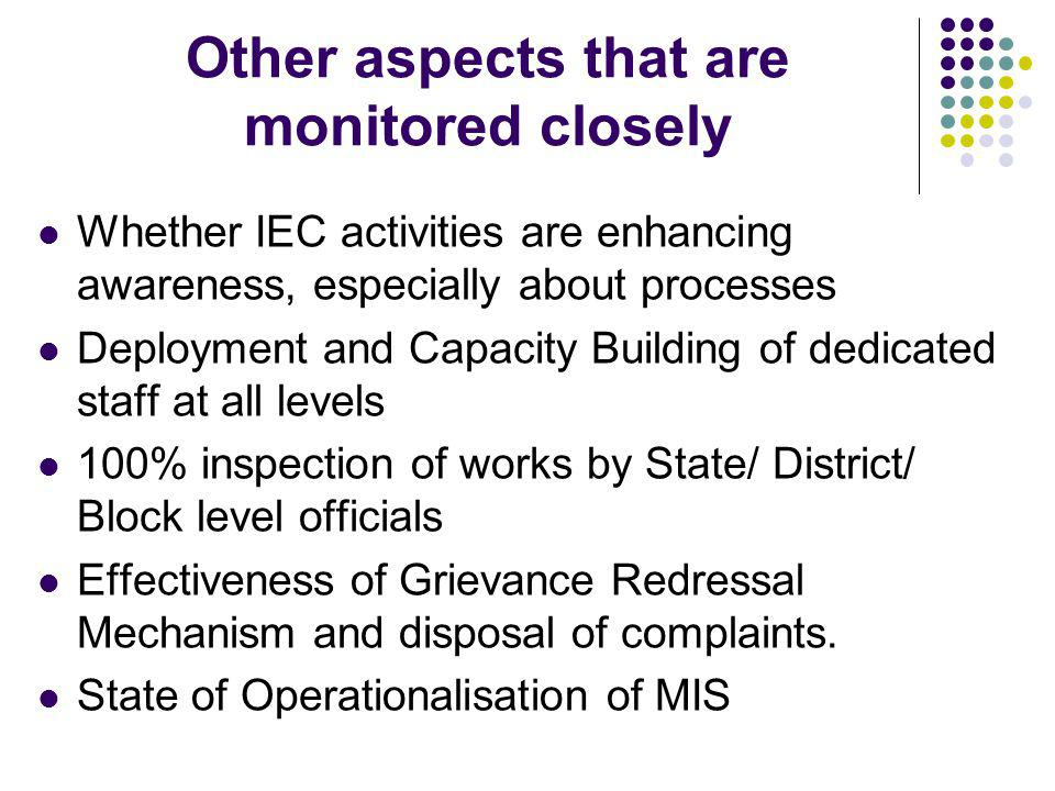 Other aspects that are monitored closely