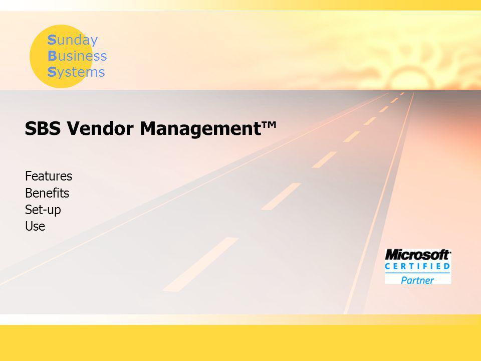 SBS Vendor Management™