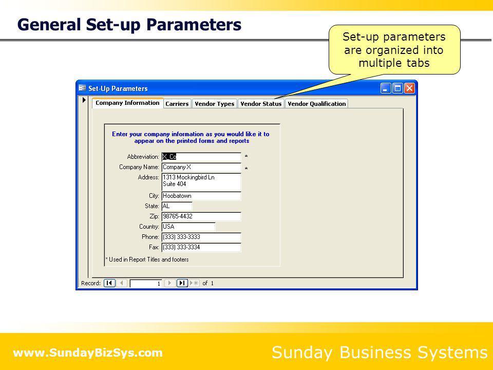 General Set-up Parameters