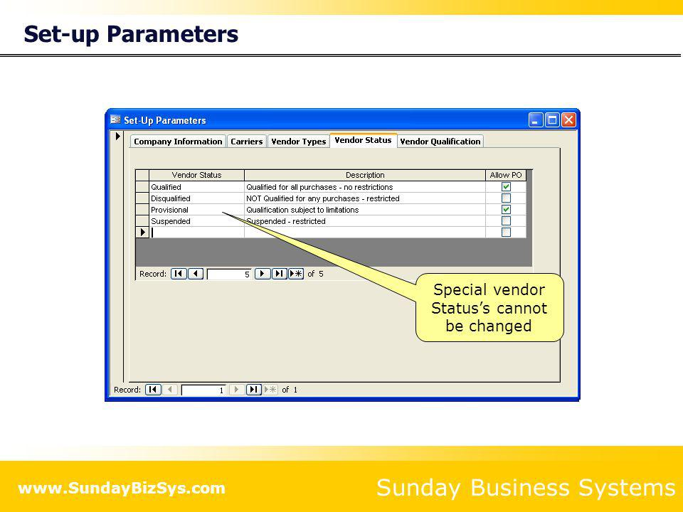 Set-up Parameters List all preferred carriers