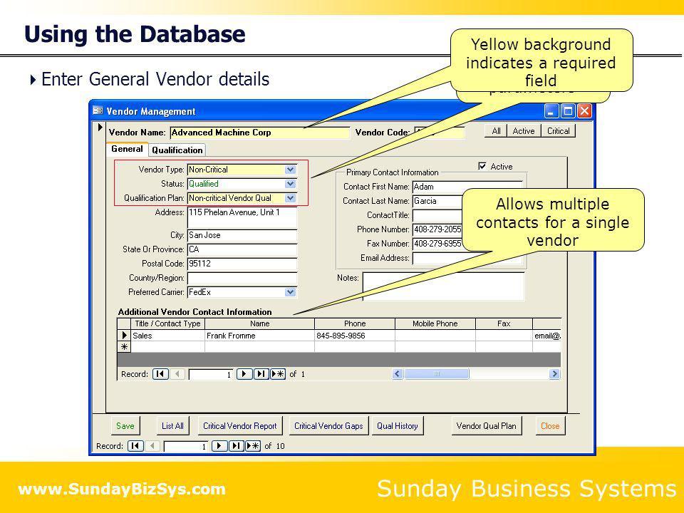 Using the Database Enter General Vendor details