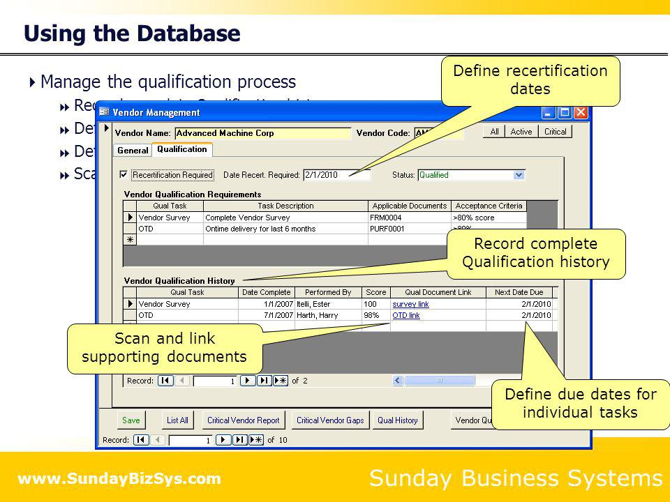 Using the Database Manage the qualification process