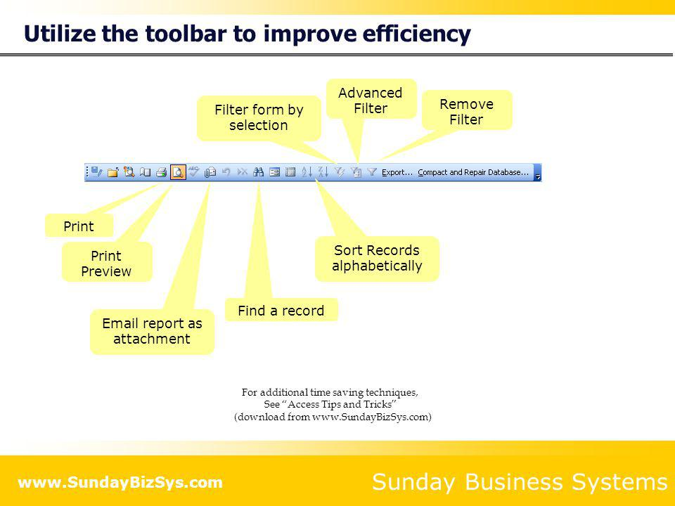 Utilize the toolbar to improve efficiency