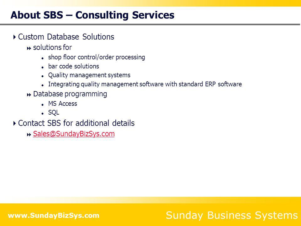 About SBS – Consulting Services