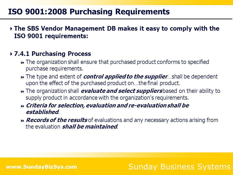 ISO 9001:2008 Purchasing Requirements
