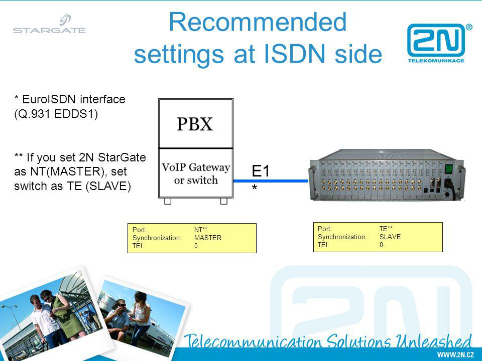 Recommended settings at ISDN side