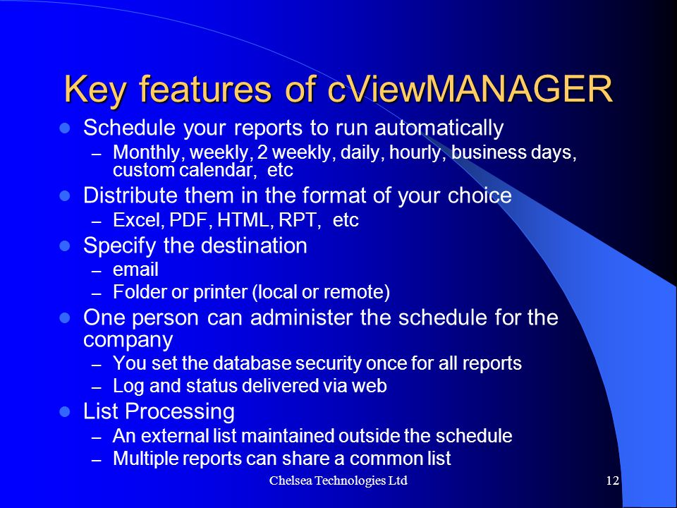 Key features of cViewMANAGER