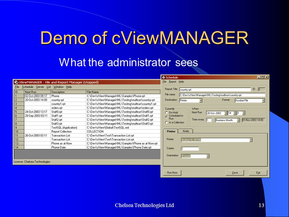 Demo of cViewMANAGER What the administrator sees