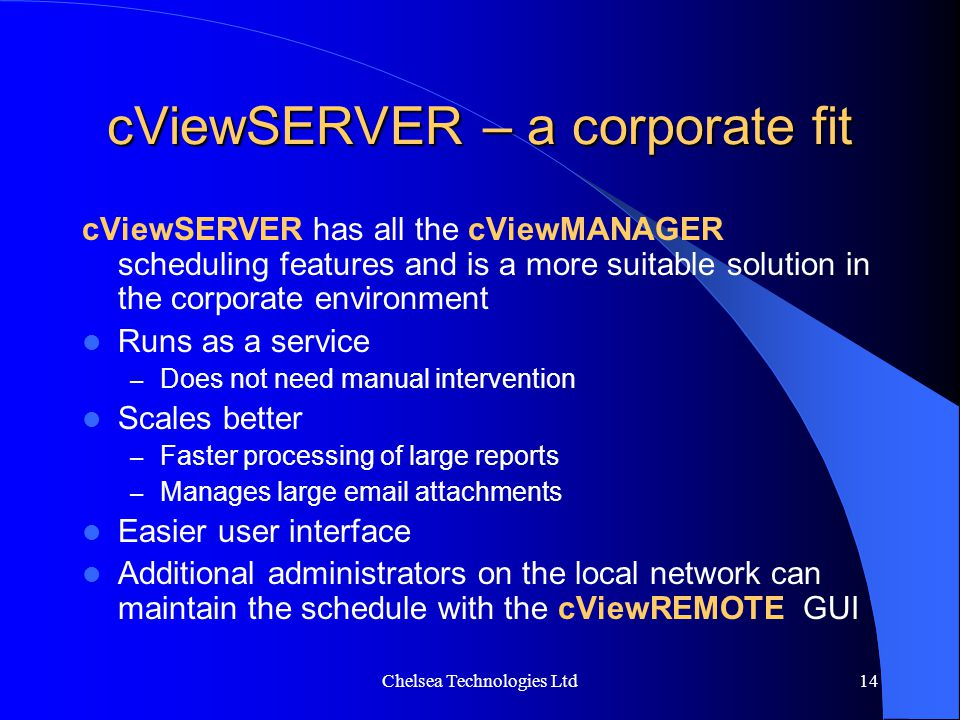 cViewSERVER – a corporate fit