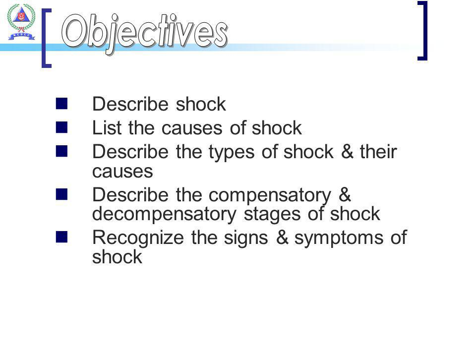 Objectives Describe shock List the causes of shock