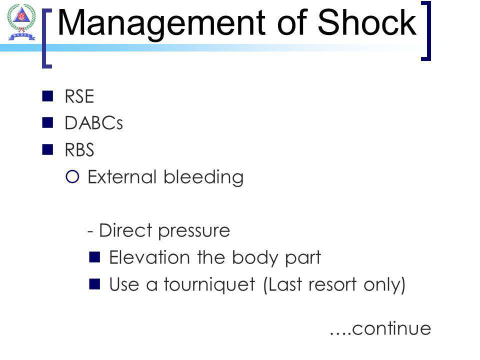 Management of Shock RSE DABCs RBS External bleeding - Direct pressure
