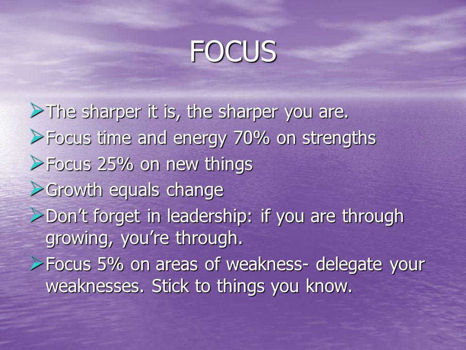 FOCUS The sharper it is, the sharper you are.