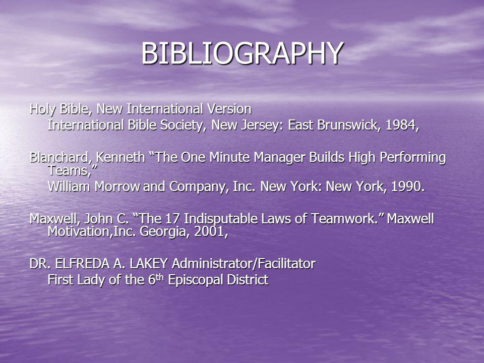 BIBLIOGRAPHY Holy Bible, New International Version
