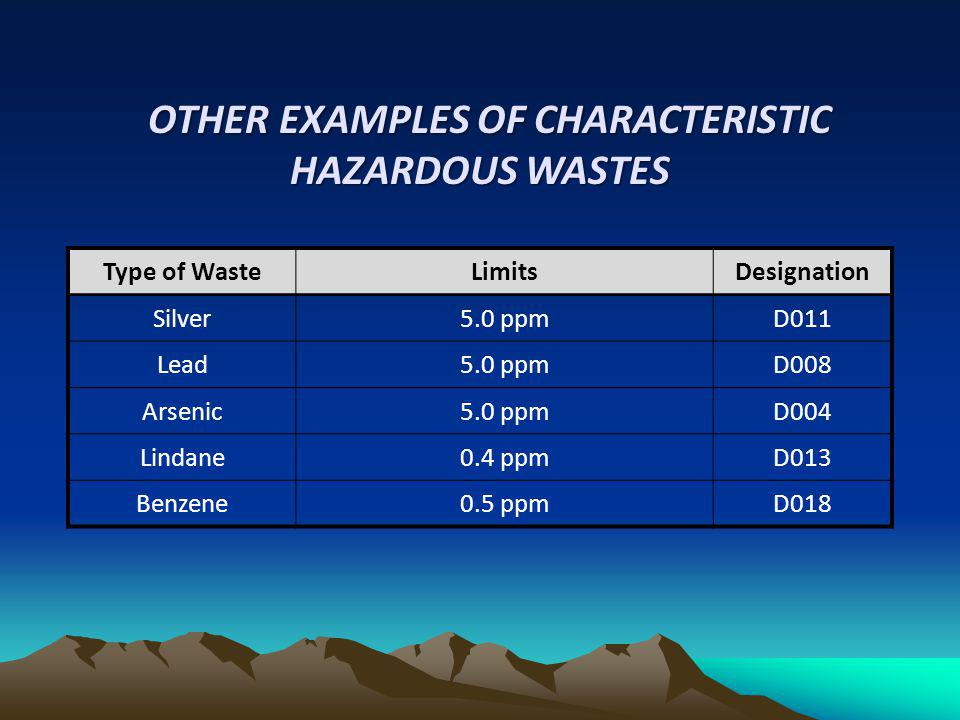 OTHER EXAMPLES OF CHARACTERISTIC HAZARDOUS WASTES