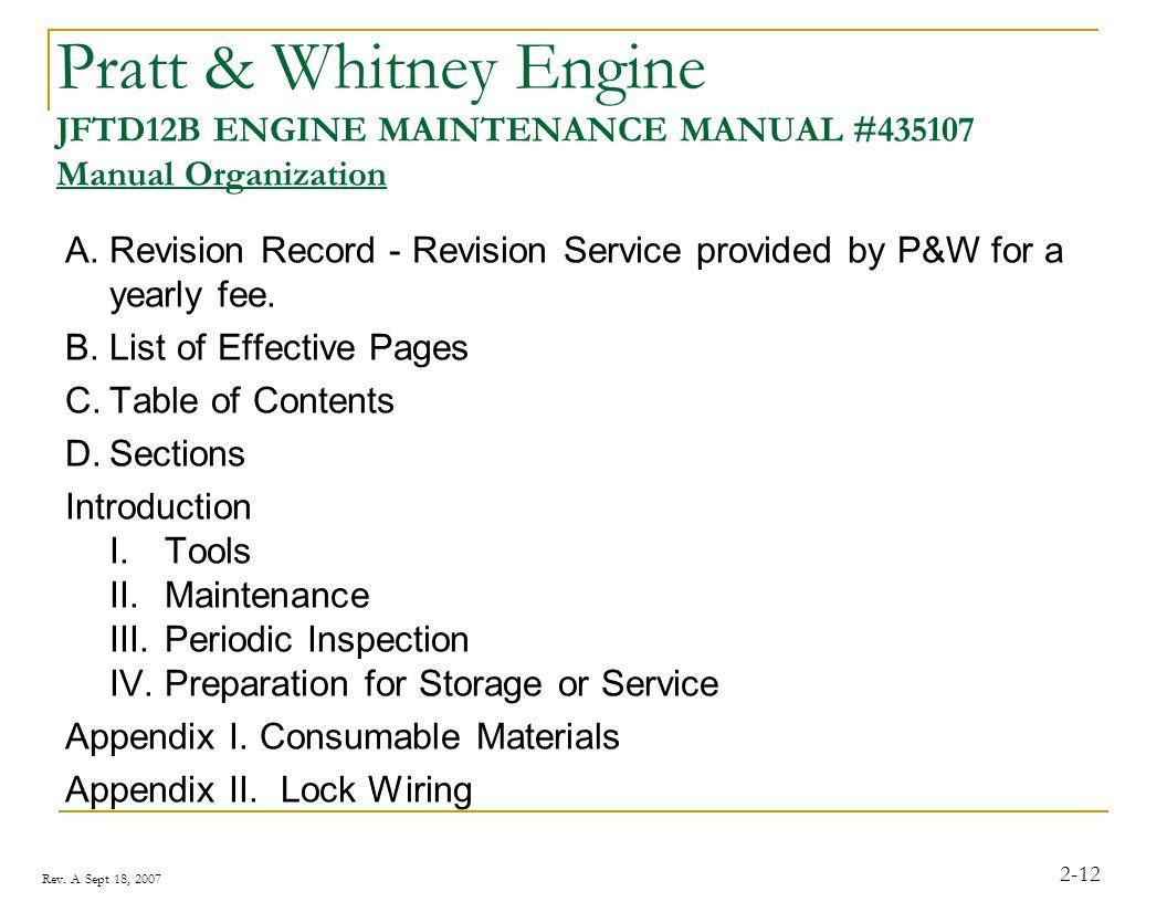 Pratt & Whitney Engine JFTD12B ENGINE MAINTENANCE MANUAL #435107 Manual Organization