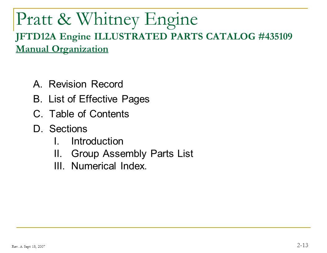 Pratt & Whitney Engine JFTD12A Engine ILLUSTRATED PARTS CATALOG #435109 Manual Organization