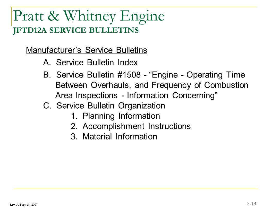 Pratt & Whitney Engine JFTD12A SERVICE BULLETINS