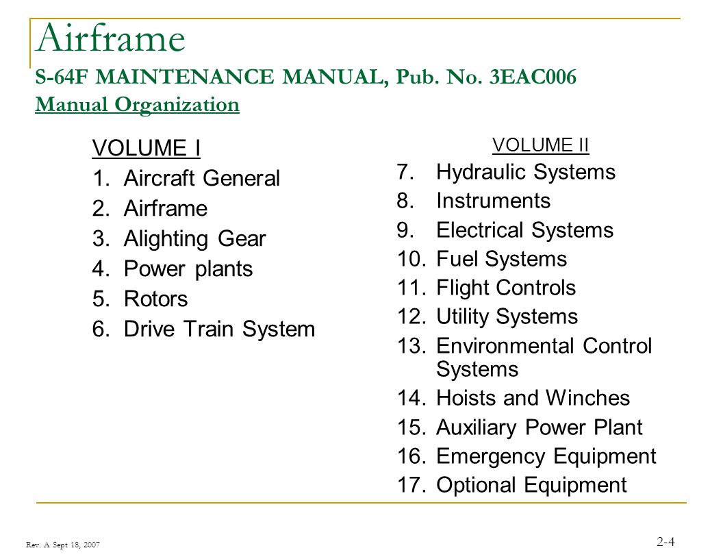 Airframe S-64F MAINTENANCE MANUAL, Pub. No. 3EAC006 Manual Organization