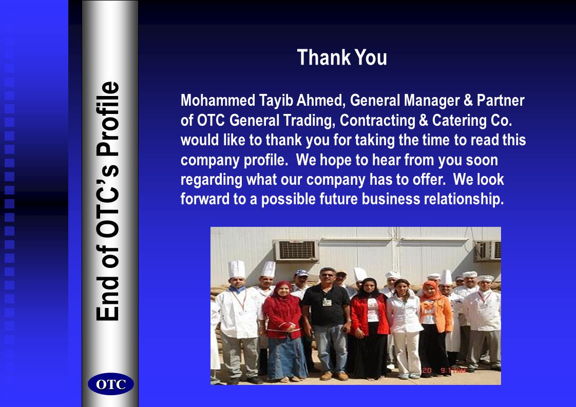End of OTC's Profile Thank You