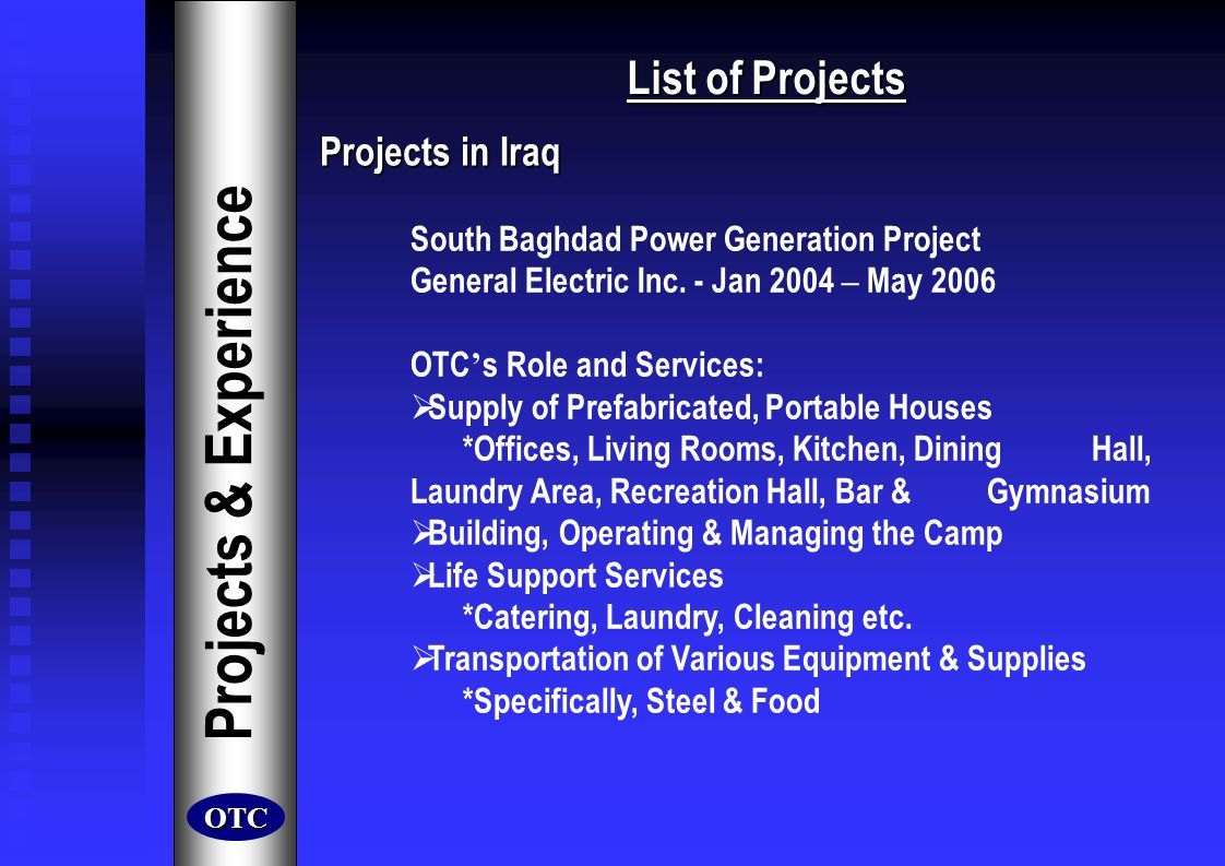 Projects & Experience List of Projects Projects in Iraq
